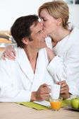 Couple at breakfast — Stock Photo