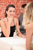 Girls in a restaurant — Stock Photo