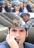 A workman on a building site — Stock Photo