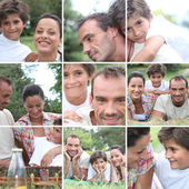 Collage of a family picnic — Stock Photo