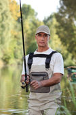 Freshwater fisherman in a river — Stock Photo