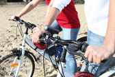 Cycling on a beach — Stock Photo