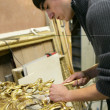 Stock Photo: Man repairing art frame
