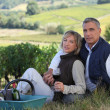 Couple tasting wine in field — Stock Photo #8664456