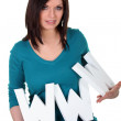 Woman with letters www — Stock Photo