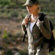 Stock Photo: Female hiker in the wilderness