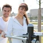Couple doing sport outdoors — Stock Photo