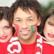 Portuguese football fans — Stock Photo