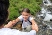 Mother and daughter on hiking trip — Stock Photo
