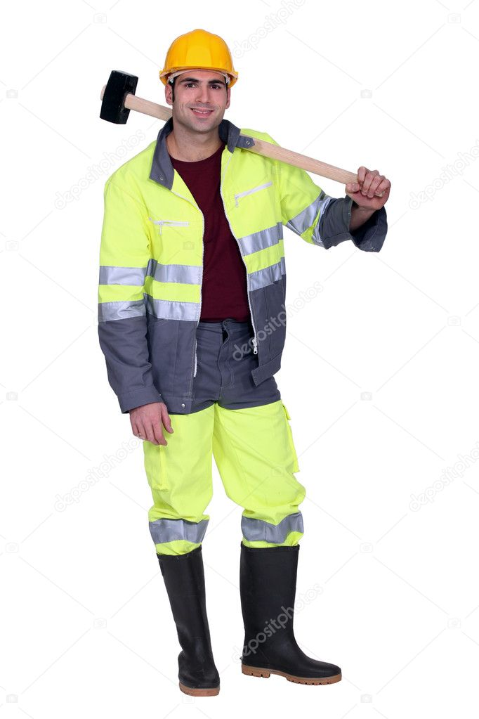 Construction worker with a sledgehammer  Stock Photo #8662461