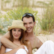 Couple in a sand dune — Stock Photo
