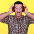 Builder wearing hearing protection — Stock Photo