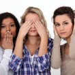 Young women witnessing destruction - Stock Photo