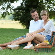 Couple enjoying picnic in the park — Stock Photo