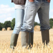 Farming couple in field - Stok fotoğraf