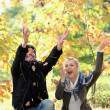 Couple playing with autumn leaves - Stock Photo