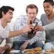 Young men chilling out at home — Stock Photo