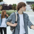 Stock Photo: Teenagers going to school