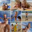 A family on the beach — Stock Photo