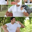 Stock Photo: Photo-montage of a basket-ball player