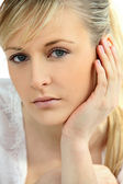 Headshot of blond model — Stock Photo