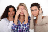 Young women witnessing destruction — Stock Photo
