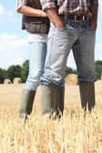 Farming couple in field — Stockfoto