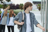Teenagers going to school — Stock Photo