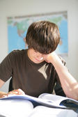 A hard-working teenager studying — Stock Photo