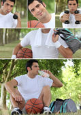 Photo-montage of a basket-ball player — Stock Photo