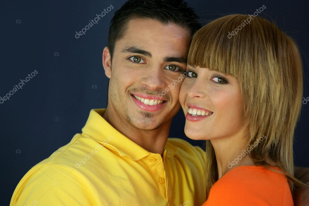 Young couple stood with faces touching — Stock Photo #8678265