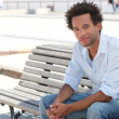 Man sat on bench — Stock Photo