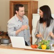 Happy duo in kitchen — Stock Photo #8686784