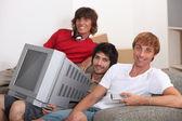 Portrait of 3 flatmates — Stock Photo