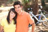 Young couple on bike ride — Stock Photo