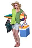 Girl ready for the beach — Stock Photo