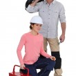 An electrician and his apprentice. — Stock Photo #8691848