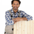 Carpenter with a wooden shutter - Stock Photo