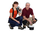 A team of tile fitters — Stock Photo