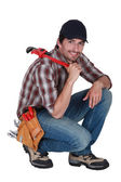 Handyman with a wrench — Stock Photo