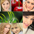 A collage of healthy-looking young women — Stock Photo