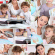 Stock Photo: Baby-sitter and little girls doing homework