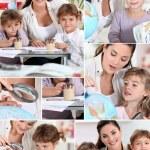 Baby-sitter and little girls doing homework — Stock Photo