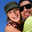 Couple hugging outdoors — Stock Photo