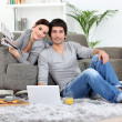 Couple relaxing at home — Stock Photo #8754587
