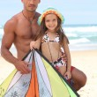 Little girl and father at the beach — Stock Photo