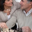Mature chessplayer and wife — Stock Photo #8757996