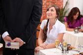 Man woman waiting at restaurant — Stock Photo