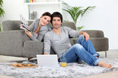 Couple relaxing at home — Stok fotoğraf