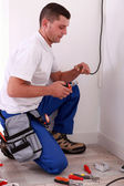 Electrician preparing wiring — Stock Photo